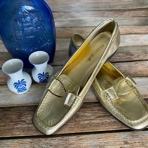 Maripe Gold Leather Loafers Flats Size 6.5M